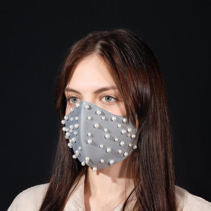 """Маска декоративная """"Бусины"""", цвет белый в сером"""