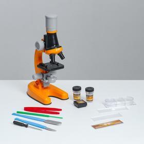 Микроскоп 'Юный ботаник' кратность до х1200, оранжевый, подсветка Ош