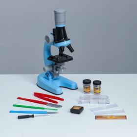 Микроскоп 'Юный ботаник' кратность до х1200, синий, подсветка Ош