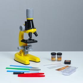 Микроскоп 'Юный ботаник' кратность до х1200, желтый, подсветка Ош