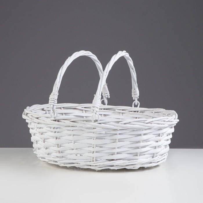 Корзина «Плетёнка», 45/35×20/45 см, ива, серая