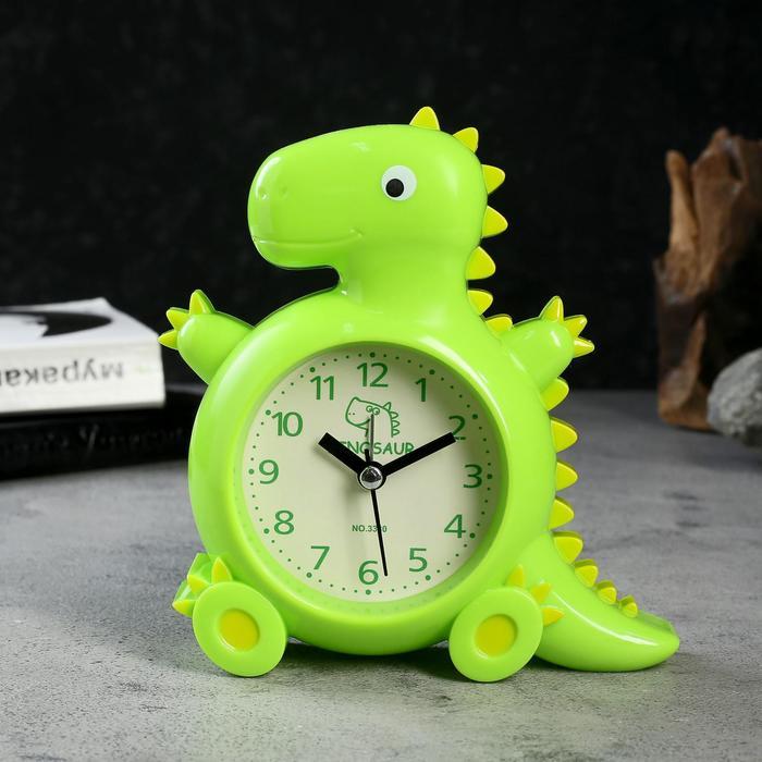 """Будильник """"Динозаврик"""", d=7 см, 3 ААА, дискретный ход, 4х14х15.5 см, зеленый"""