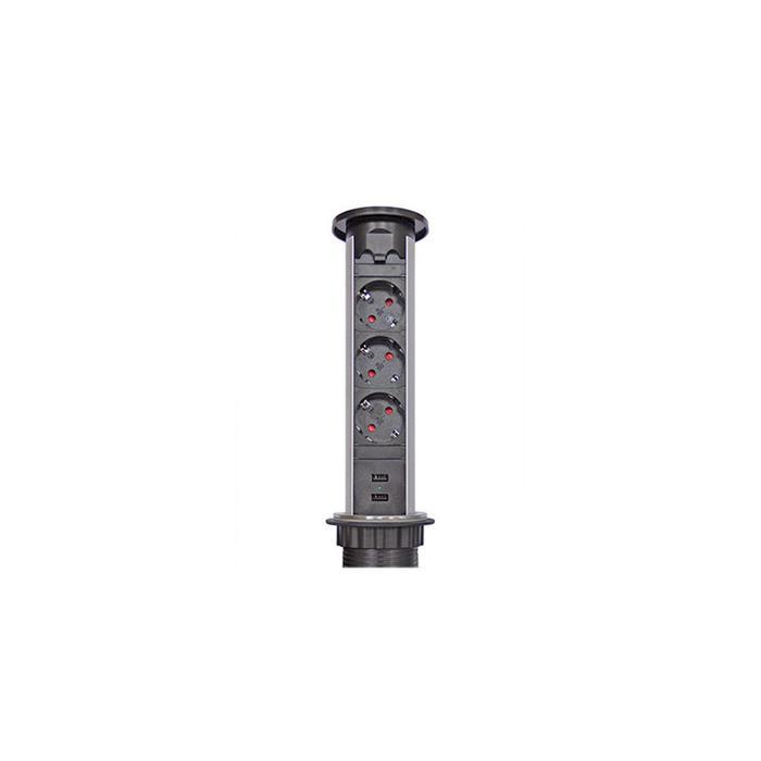 Блок розеток mebax 105J, 3 секции, автоматический, d=60мм, цвет серебро