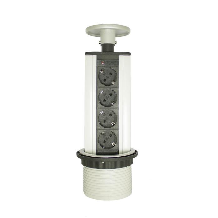 Блок розеток mebax LK, 4 секции, механический, d=100 мм, цвет серебро