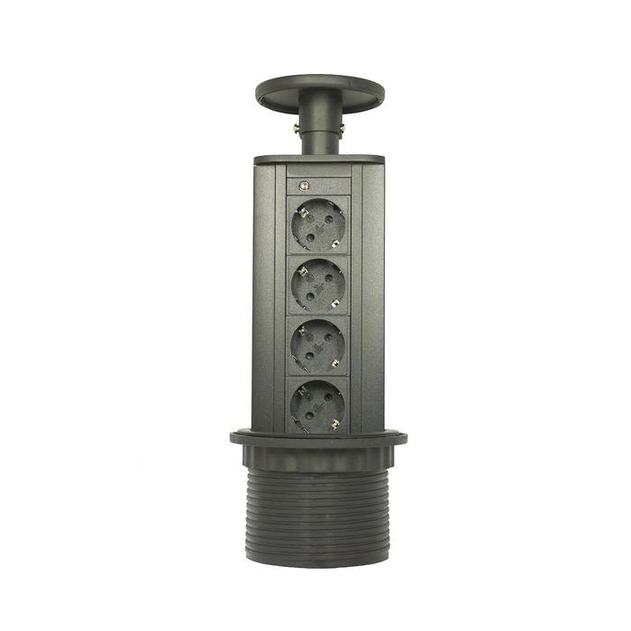 Блок розеток mebax LK, 4 секции, механический, d=100 мм, черный