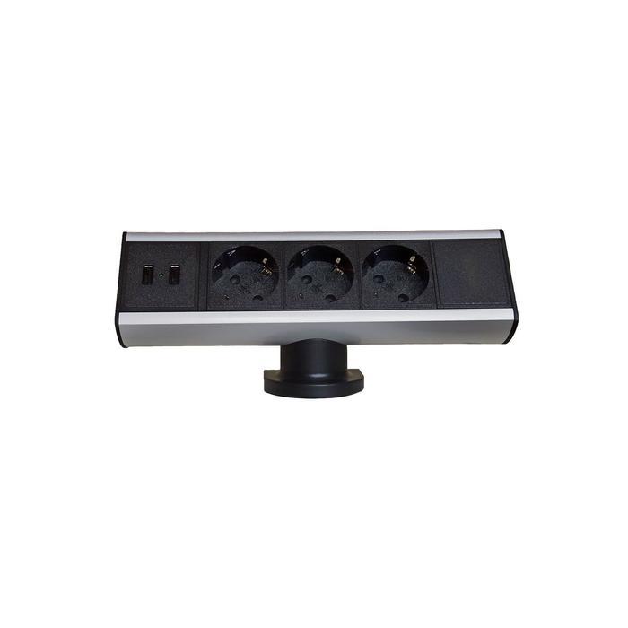 Блок розеток mebax 102, 3 секции, 2 USB, механический, d=100 мм, цвет серебро/черный