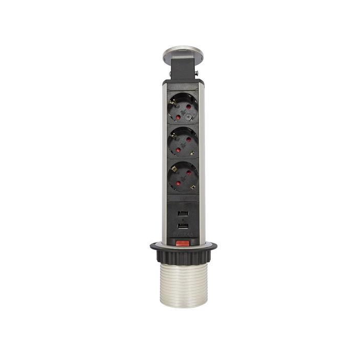 Блок розеток mebax 105S, 3 секции, 2 USB, механический, d=60 мм, цвет серебро/черный