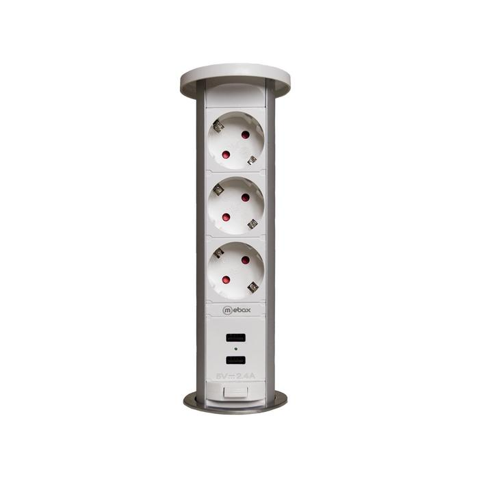 Блок розеток mebax 105W, 3 секции, 2 USB, механический, d=60 мм, влагозащита, белый