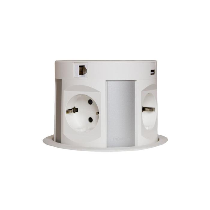 Mebax / Блок розеток mebax 107J, 4 секции, 2 USB+2 RJ-45, полуавтомат., d=120мм, цвет серебро/белый   687862