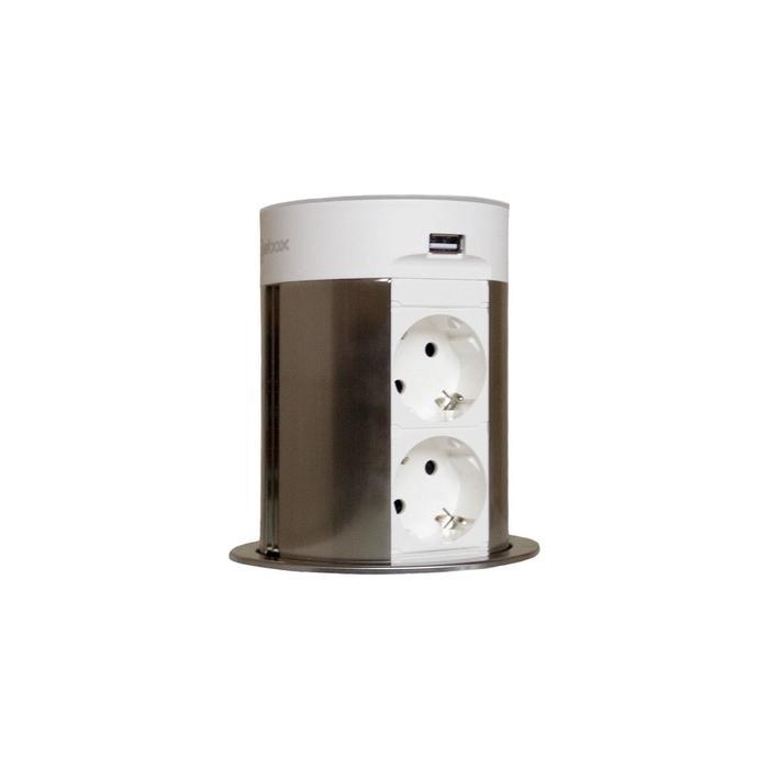 Блок розеток mebax 17J, 2 секции, 2 USB+BT, автоматический, d=100 мм, цвет серебро/белый