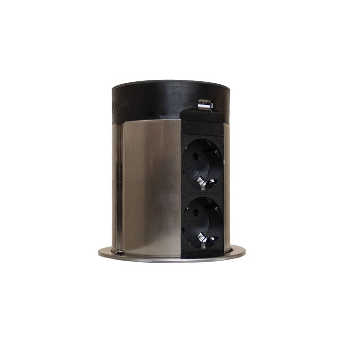 Блок розеток mebax 17J, 2 секции, 2 USB+BT, автоматический, d=100 мм, цвет серебро/черный