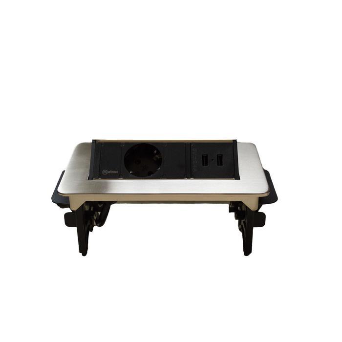 Блок розеток mebax 47, 1 секция, 2 USB, 191 х 93 мм, полуавтоматический, цвет серый металлик  68786