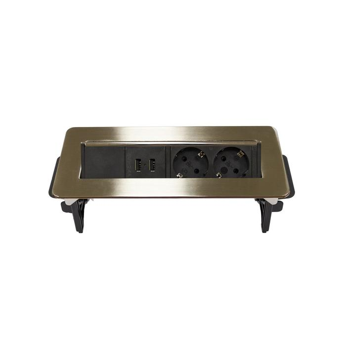 Блок розеток mebax 47, 2 секции, 2 USB, 233 х 93 мм, полуавтоматический, цвет серый металлик  68786