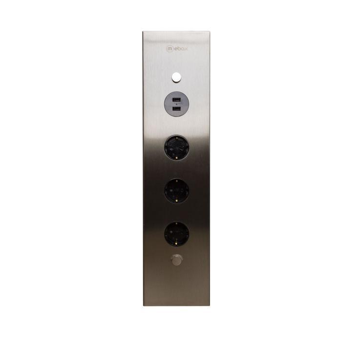 Блок розеток mebax 50F, 3 секии, 2 USB, механический, угловой, цвет серый металлик