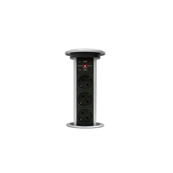 Блок розеток mebax LK, 3 секции, 2 USB, автоматический, d=90 мм, цвет серебро