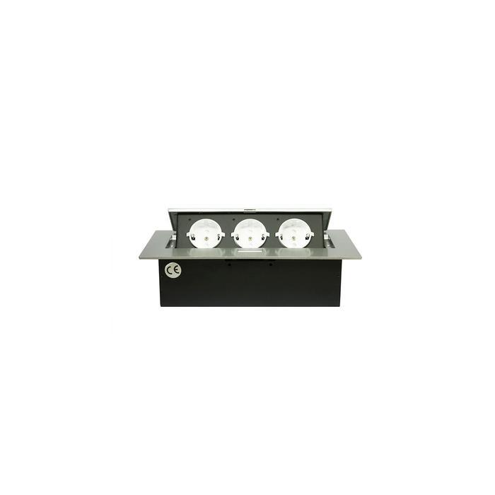 Блок розеток mebax MX-226, 3 секции, 212х60мм, полуавтоматический, без кабеля, цвет серебро  687863