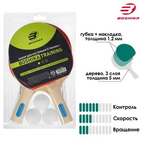 Набор для настольного тенниса BOSHIKA Training: 2 ракетки, 3 мяча, сетка, крепление