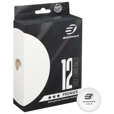 Набор мячей для настольного тенниса Premier 3*** (набор 12 шт), цвет белый - Фото 1