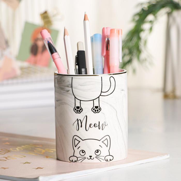 Керамический органайзер Meow, серый, 8 х 9,5 см