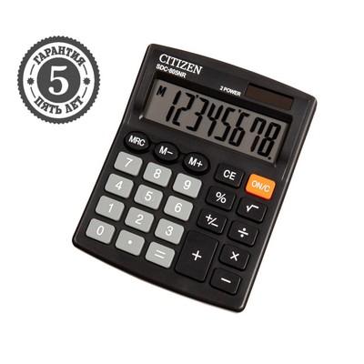 Калькулятор настольный 8-разрядный SDC-805BN, двойное питание, черный - Фото 1