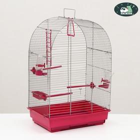 Клетка для птиц 'Пижон' №101, хром , укомплектованная, 41х30х65 см, малиновая Ош