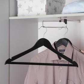 Вешалка для одежды с антискользящей перекладиной SAVANNA, размер 46-48, сорт А, тёмное дерево, клён