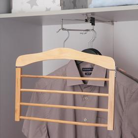 Вешалка для одежды 4 перекладины SAVANNA, сорт А, 38,5×1,2×35,5 см, светлое дерево, лотос