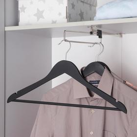 Вешалка для одежды с перекладиной SAVANNA, размер 46-48, дерево, покрытие Soft-touch, цвет чёрный