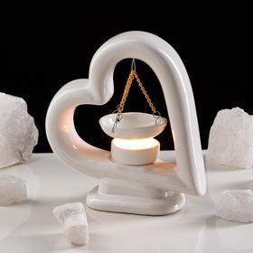 "Аромалампа ""Сердце"", цвет белый, 18 см"
