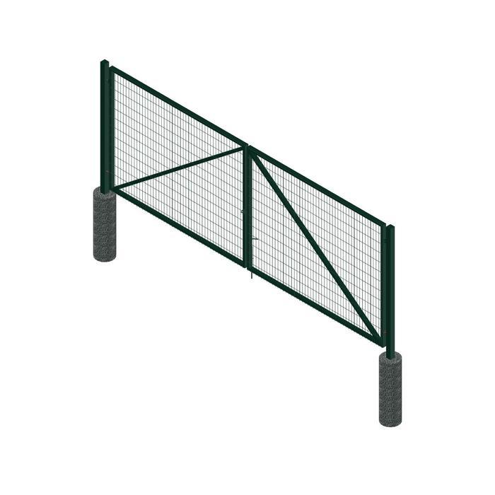 Ворота распашные ПРЕГРАДА Эко 4х1,5 м, c проушинами, 2 фиксатора, цвет зеленый