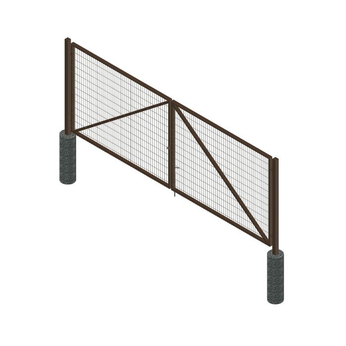 Ворота распашные ПРЕГРАДА Эко 4х1,8 м, c проушинами, 2 фиксатора, цвет шоколад