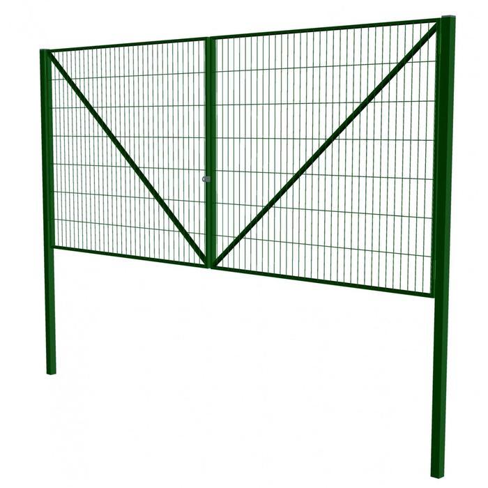 Ворота распашные с сетчатым заполнением УНИВЕРСАЛ 4х1,8 м, с проушиной, цвет зеленый