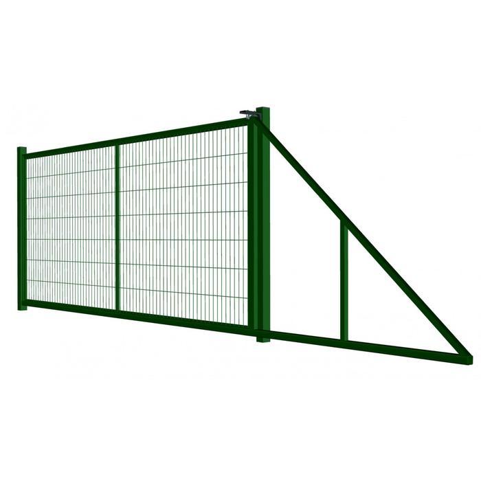 Ворота откатные с сетчатым заполнением УНИВЕРСАЛ 4х1,8 м, с проушиной, цвет зеленый