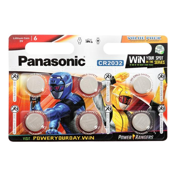 фото Батарейка литиевая panasonic lithium power rangers, cr2032-6bl, 3в, блистер, 6 шт.