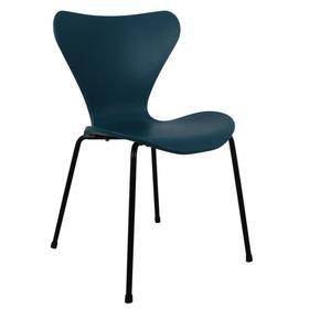 Стул Seven, 510 × 480 × 800 мм, цвет голубой с чёрными ножками