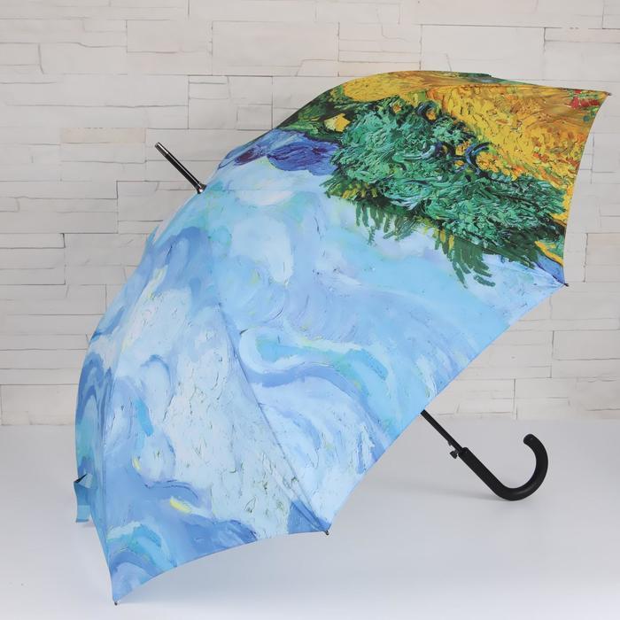 Зонт - трость полуавтоматический «Картина», 8 спиц, R = 52 см