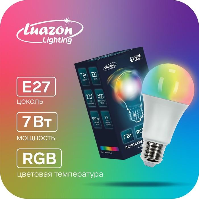 Лампа светодиодная RGB, с пультом , А60, 7 Вт, 560 Лм, Е27, 220 В