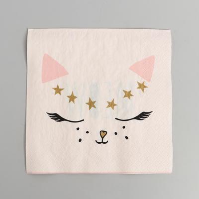 Салфетки бумажные «Кошка белая», набор 20 шт., 33 см - Фото 1