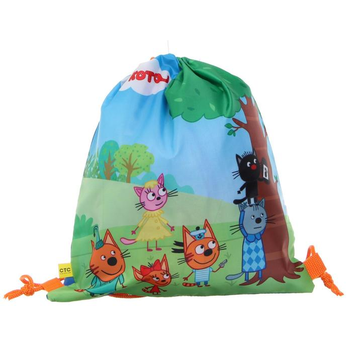 """Мешок для обуви 320 х 270 """"Три кота"""", голубой/зелёный/оранжевый"""