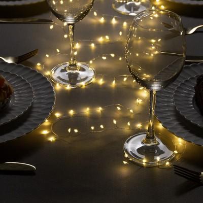 """Гирлянда """"Мишура"""" 2 м роса, IP20, серебристая нить, 100 LED, свечение тёплое белое, фиксинг, USB - Фото 1"""