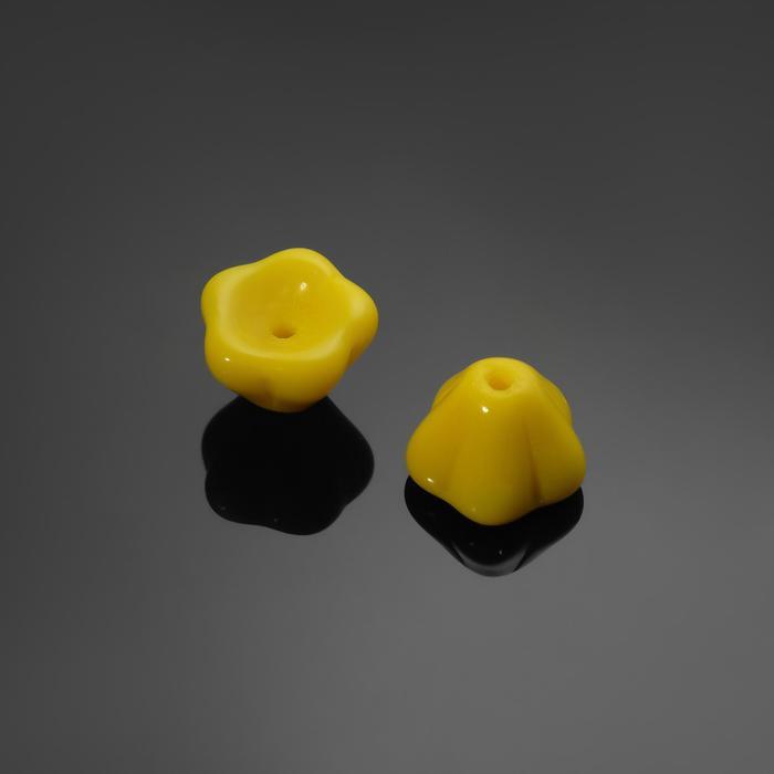 """Бусина стеклянная """"Preciosa"""" цветок (набор 2шт), 8*7мм, цвет жёлтый"""