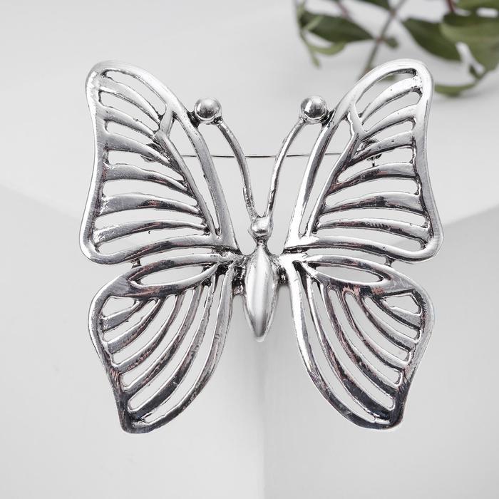 """Брошь """"Бабочка"""" полоски, цвет чернёное серебро"""