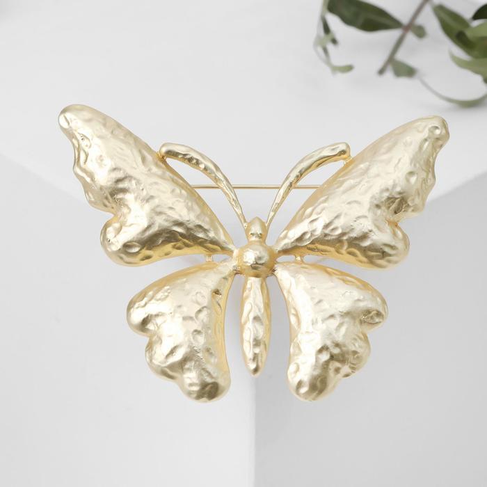 """Брошь """"Бабочка"""" с вкраплениями, цвет золото матовое"""