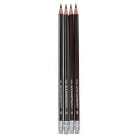 Набор 4шт карандаш ч/г K-I-N 1397 2B сверхгибкий, с ластиком (4157789)