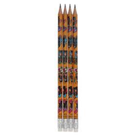 Набор 4шт карандаш ч/г дизайн K-I-N 1231 Крот d=2мм, корп толщ=7мм, корп L=189мм, с ластиком (491653