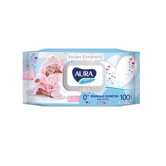 Влажные салфетки Aura Ultra Comfort, детские, МИКС, 100 шт.