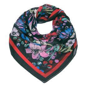Платок женский текстильный, цвет чёрный/цветы, размер 68х68