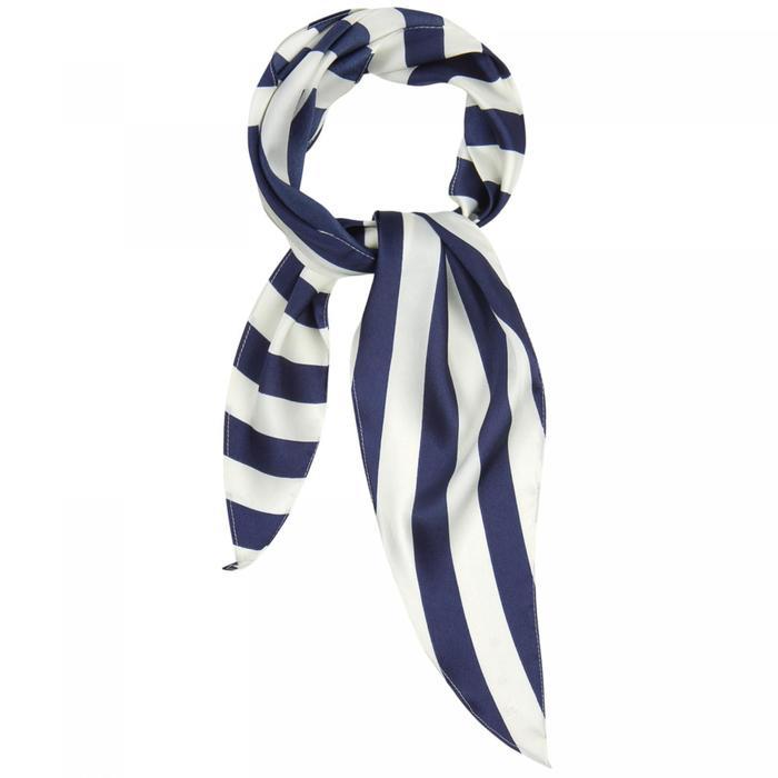 Шарф женский текстильный, цвет синийполоска, размер 33х115
