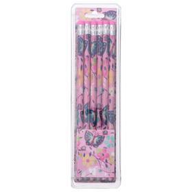 Набор карандашей чернографитных с ластиком 12 штук НВ Бабочки