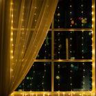 """Гирлянда """"Занавес"""" 1.6 х 1.6 м , IP44, серебристая нить, 160 LED, свечение тёплое белое, 8 режимов, 220 В - Фото 1"""